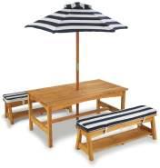 KidKraft Hübsches Gartenmöbelset, Gartentisch mit Bänken und Sonnenschirm, blau weiß gestreift, aus Holz