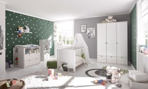 Babyzimmer Landhaus in Weiß 4 teiliges Megaset
