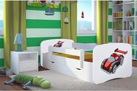 Kocot Kids 'Rennwagen' Einzelbett weiß 80x160 cm inkl. Rausfallschutz, Matratze, Schublade und Lattenrost