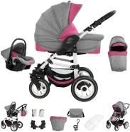 Bebebi Florenz | Hartgummireifen in Weiß | 3 in 1 Kombi Kinderwagen | Farbe: Davanzati Pink White