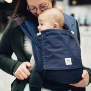 LIMAS Babytrage Halfbuckle | 50 -86 cm | Bauchtrage & Rückentrage & Hüfttrage | ab Geburt bis Kleinkindalter | Baby Carrier | Dark Denim