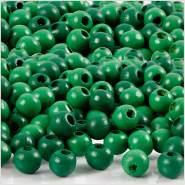 Holzperlen, D: 5 mm, Lochgröße 1,5 mm, Grün, 6g, ca. 150 Stück