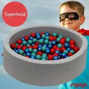 Bio Premium Bällebad SUPERHELD in hellgrau mit 300 Bällen aus Zuckerrohr