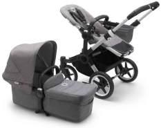 Bugaboo Donkey3 Mono Kinderwagen Set 3 in 1 incl. Babyschale Alu / Grau / Grau Meliert Deep Black