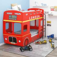 vidaXL Etagenbett London-Bus Rot MDF 90x200 cm
