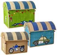 Rice Spielzeugkorb-Set Fahrzeuge natur türkis grün