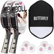 Butterfly 2 x Timo Boll Black 85030 Tischtennisschläger + Tischtennishülle + 6 x 40+ 3*** Bälle
