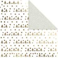Design-Papier, Blatt 30,5x30,5 cm, 180 g, Gold, Hirsche und Punkte, 3Bl.