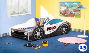 Lux4Kids Autobett 70x140 cm, Police Black White, mit Matratze und Lattenrost