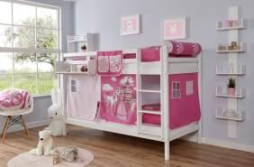 Ticaa 'Rene' Etagenbett Buche weiß, 90 x 200 cm, Vorhang Horse-Pink (Ausführung 1)
