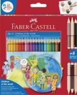 Faber Castell 20 Farbstifte Colour GRIP plus 3 Doppelbuntstifte in Hautfarben