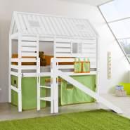 Hochbett mit Rutsche, Leiter & Lattenrost BERGEN-13 massiv weiß lackiert, inkl.Textilset grün/orange