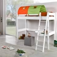 Relita Hochbett GÖTEBORG-13 Buche massiv weiß lackiert, mit Schreibtisch und Tunnel grün/orange