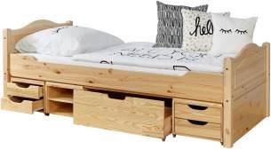 Ticaa Einzelbett 'Leni' 90x200 Kiefer massiv - mit 4er Funktionsschubkasten - natur