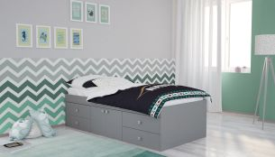 Polini Kids Jugendbett Stauraumbett Simple 3100 grau