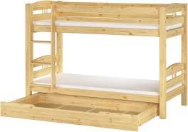Erst-Holz Etagenbett Kiefer natur 90x200 inkl. Gästebett