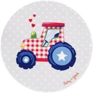 Kinderteppich 'Baby Glück' Traktor Ø100cm