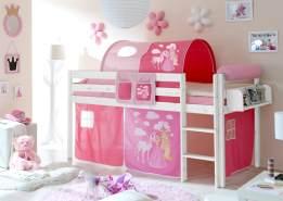 Ticaa Hochbett Malte Kiefer Weiß - Horse Pink