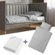 VitaliSpa 'Grau Sterne' 3-tlg. Kinderbettwäsche-Set 140x70cm
