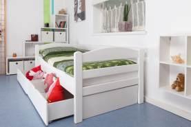 Einzelbett/FunktionsbettEasy Premium Line K1/n/s inkl 2 Schubladen und 2 Abdeckblenden, 90 x 200 cm Buche Vollholz massiv weiß lackiert