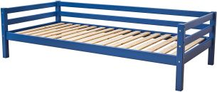 Hoppekids 'BASIC My Color' Einzelbett 90×200 cm, Blau, inkl. Rollrost, mit Rückenleiste, nachhaltig