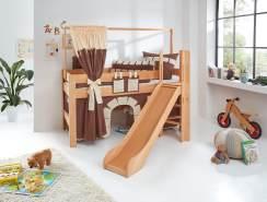 Spielbett LEO Buche massiv geölt, mit Rutsche und über Eck gebauter Leiter