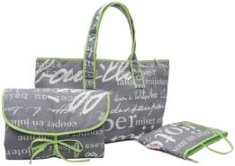 Belily World Paris Wickeltasche Set, Shopper Bag