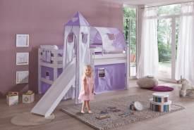 Relita 'Eliyas' Spielbett mit Rutsche und Textilset Vorhang, 1-er Tunnel, Turm und Tasche purple/weiß/Herz