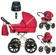 Friedrich Hugo - Natureline Uni - 4 in 1 Kombikinderwagen - Isofix Set Edward Strawberry Creme