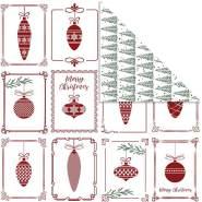 Design-Papier, Blatt 30,5x30,5 cm, 180 g, Christbaumkugeln und Weihnachtsbäume, 5Bl.