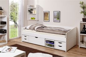Ticaa 'Micki' Sofabett 90x200 cm, Kiefer massiv weiß, inkl. Schublade 'Marlies'