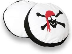 Ticaa 'Pirat' 2-tlg. rundes Kissen-Set schwarz-weiß