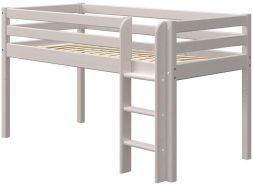 FLEXA Classic Halbhochbett mit gerader Leiter Grau lasiert 90 x 200 cm