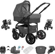 Friedrich Hugo Berlin | 3 in 1 Kombi Kinderwagen Komplettset | GEL Reifen | Farbe: Dark Grey and Grey Night