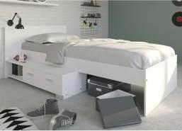 expendio Jugendbett Galeno 16B weiß 90x200 Stauraumbett Jugendzimmer Kinderzimmer Bett Bettgestell