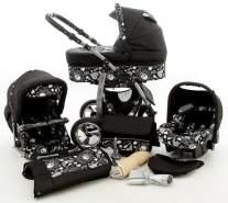 Kinderwagen Dino Rock Baby + Autositz Schwarz & Schwarze Totenköpfe ohne Isofix-Ausstattung mit Winterfußsack Fleece ohne Sonnenschirm