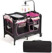 COSTWAY 3 in 1 klappbares Reisebett & Wickeltisch & Laufstall rollbar, 2 Ebenen Babybett inkl. Spielbogen mit 3 Spielzeugen, Matratze, Wickelauflage, Windelaufbewahrung und Spieluhr