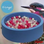 Bio Premium Bällebad EISVOGEL in hellblau mit 300 Bällen aus Zuckerrohr