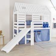 Hausbett mit Rutsche BERGEN-13 Buche massiv weiß lackiert inkl.Textilset blau/delfin