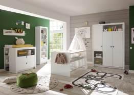 moebel-guenstig24.de Babyzimmer-Set Paula 5tlg Wickelkommode Babybett Kleiderschrank 3t�Rig Regal wei�