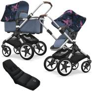 Bugaboo Fox Kinderwagen Birds / Blue mit High Performance Fußsack, inkl. Gestell Alu