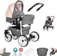 Friedrich Hugo Berlin | 2 in 1 Kombi Kinderwagen | GEL Reifen | Farbe: Grey and Beige Day
