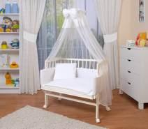 WALDIN Beistellbett mit Matratze und Nestchen, höhenverstellbar, Ausstattung weiß/weiß, Gestell Weiß lackiert