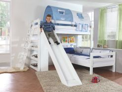 Relita 'SKY' Etagenbett mit Rutsche weiß, inkl. Stoffset 'Blau/Boy' mit 2 Matratzen