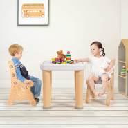 COSTWAY 3 TLG. Kindersitzgruppe, hoehenverstellbarer Kindertisch mit 4 Schubladen, 2 Kinderstuehlen mit Verstellbarer Sitzhöhe, Natur
