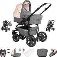 Friedrich Hugo Berlin | 3 in 1 Kombi Kinderwagen Komplettset | Luftreifen | Farbe: Grey and Beige Night