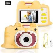 COSTWAY 18MP/720P HD Kinderkamera, Kinder-Videokamera mit Cartoon-Schutzhuelle, Digitalkamera mit 2 Zoll Bildschirm, inkl. Trageband, 16GB-Speicherkarte fuer Kinder von 3-10 Jahren (2 Zoll / gelb)