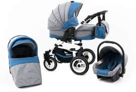 Tabbi ECO LN - 3 in 1 Kombi Kinderwagen Hartgummi Lightblue