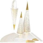 Spitztüten, H 1828 cm, 120 g, Weiß, Gold, 3 Stück