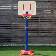 COSTWAY Basketballstaender Kinder, Basketballkorb mit Staender, Basketballanlage 8 stufig hoehenverstellbarer, Korbanlage mit Rillen, geeignet fuer Innen- und Aussenbereiche